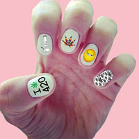 420 Nail Decals/ Nail Wraps/ Nail Art/ Pot Leaf / Marijuana/ Stoner