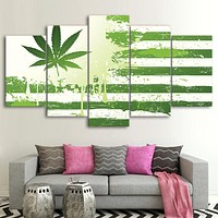 Marijuana Hemp Green Flag Canvas