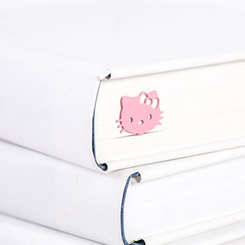 Bookmark Hello Kitty pink laser cut metal powder coated black Stylish unique gift for book lover Free shipping.