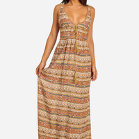 Beige Sleeves Printed Maxi dress with Crochet Accent