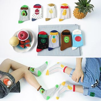 Foot 22-25cm Socks Fruit Food Watermelon Pitaya Mango Avocado Pineapple Pear Apple Cookie Sandwich Tomato Kiwi PPAP Stripe Dots