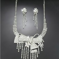 Graceful Alloy with Cute Rhinestone Wedding Jewelry Set(Including Necklace and Earrings)