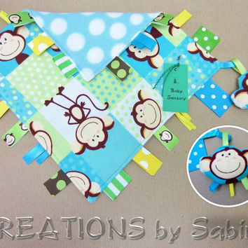 Baby Ribbon Sensory Blanket with attached Stuffed Toy, Tag Toy, blue, turquoise, monkeys READY TO SHIP 134