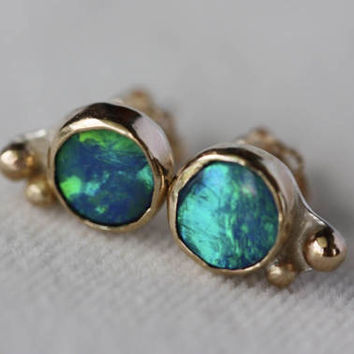 Australian Black Opal Stud Earrings, 14k Gold and Sterling Silver