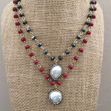 Pearl Pendant Crystal Beaded Choker Pave
