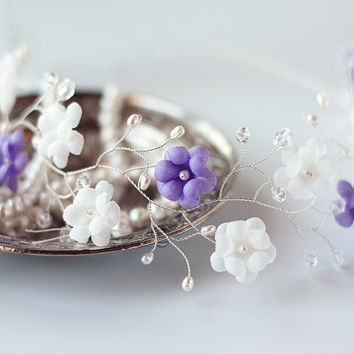 Hair accessories wedding, Violet headband, White flower tiara, Woman headband, Wedding headpiece, Goddess headpiece, Grecian head piece