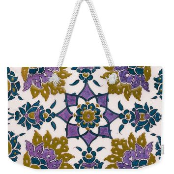 An Ottoman Iznik Style Floral Design Pottery Polychrome, By Adam Asar, No 13g - Weekender Tote Bag
