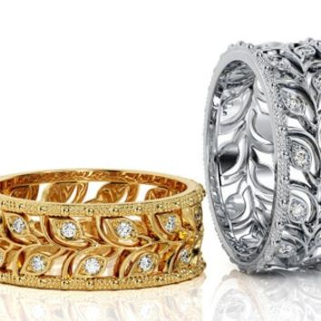 Leaves Wedding Band White gold Wide Band with Diamonds Leaf Floral Band Ring Birthday Gift Wedding Ring Diamond Band Milgrain