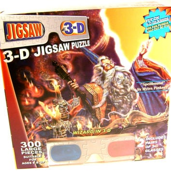 Wizard 300 Pc Jigsaw Puzzle 2 Pair 3D Glasses TDC Spellbound Myles Pinkney 19x26