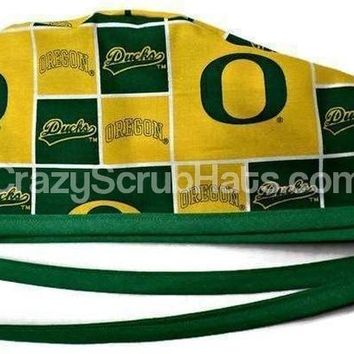 Men's Unlined Surgical Scrub Hat Cap in Oregon Ducks Light Green
