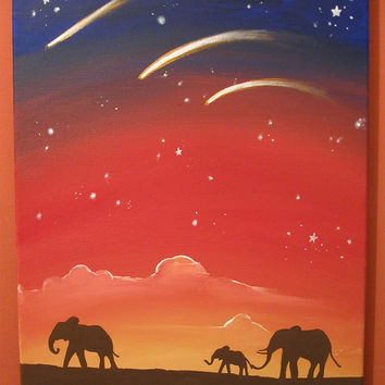 elephant art landscape sudan painting canvas triptych wall nursery decor pop abstraction contemporary african animal 16 x 20""