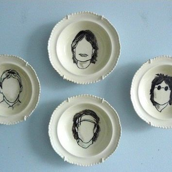 The Rolling Stones altered vintage bowl set by trixiedelicious