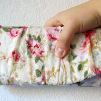 Lace clutch, floral clutch, ivory clutch, cream clutch, pink flowers, wedding clutch