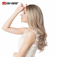 Wignee Ombre Wig Brown Blonde High Density Temperature Synthetic Wig Body Wave Cosplay Hair Halloween Wig For Black/White Women