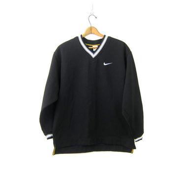 Vintage NIKE Sweatshirt Slouchy ATHLETICS Thick Black Nike Swoosh Logo Sports Sporty Sweater Oversized Jumper Size Medium Large