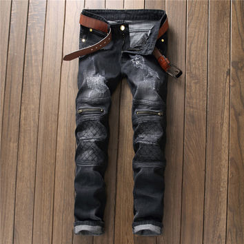 Zippers Decoration Ripped Holes Black Jeans [9892502275]