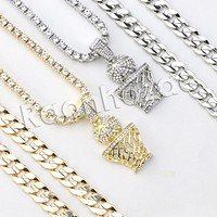 """Iced Out Micro Pave Microphone Pendant w/ 18"""" Tennis / 30"""" Cuban Chain X7"""