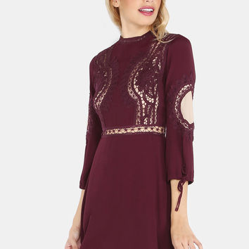 Crochet Lace Sleeve Dress WINE | MakeMeChic.COM