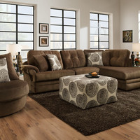 Corinthian Knockout Chocolate Chaise Sectional