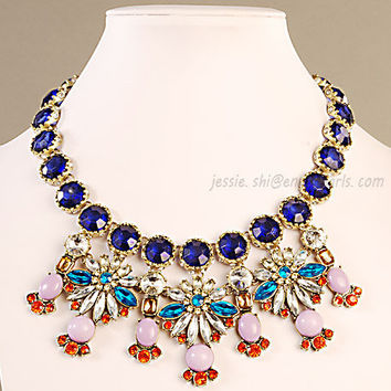 Crystal Bubble Necklace, Bib Necklace, Resin Beads Necklace, Statement Necklace (FN0663)