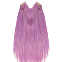"""Hidden Halo Flip-in Extensions by Lord & Cliff (Straight) - 18"""" Heat-Friendly Fiber (Color Purple Orchid)"""