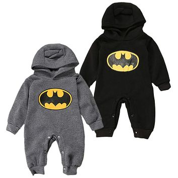 Baby Explosion Models Hooded Batman Printing Long Sleeve Cotton Rompers Jumpsuit Outfit Children Clothes
