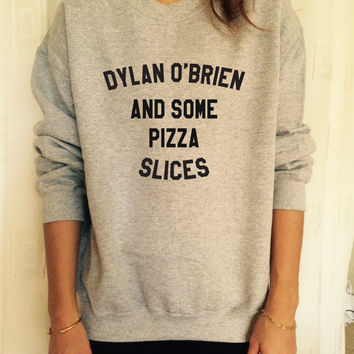 Dylan O'brien and some pizza slices black sweatshirt jumper gift cool fashion sweatshirts girls UNISEX sizing women sweater fangirls gifts