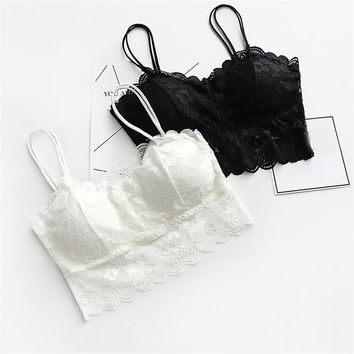 Sexy Women V-Neck Vest Lace Floral Harness Hollow Camisole Bra Blouses Tank Tops Crop Top