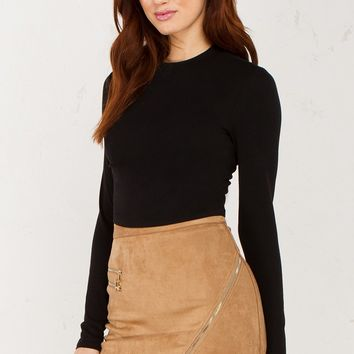 Zip Detail Suede Skirt in Camel