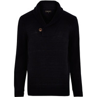 River Island MensNavy shawl neck knitted sweater