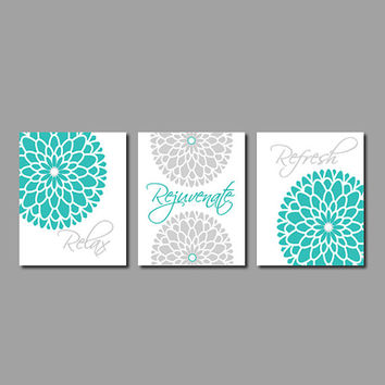Modern Floral Flower Flourish Artwork Set of 3 Trio Prints Relax Rejuvenate Refresh Turquoise Grey Wall Art Decor Bathroom Bath Home Picture