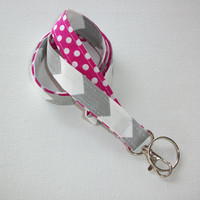 Lanyard  ID Badge Holder - Lobster clasp and key ring - design your own gray chevron white polka dots pink two toned double sided