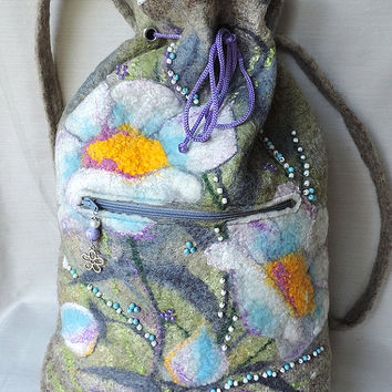 Wool backpack, Felted backpack, Backpack with flowers  (camomile)