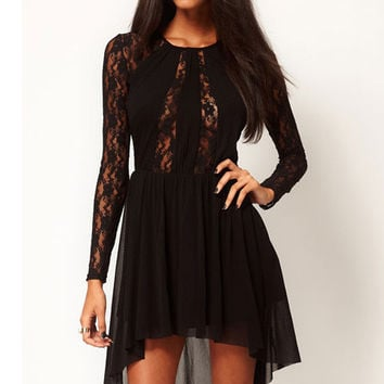 Black Long Sleeve Lace  Asymmetrical hem Midi Dress