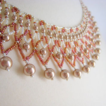 Bronze Pearl Beaded Collar Necklace, Beadwork, Seed Bead, Rose Gold