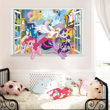 Carton Horse World Wall Decor Stickers Bedroom Decor Poster 3d False Window  Mural Art Decals Kids