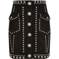 Balmain Studded Suede Mini Skirt | Harrods.com