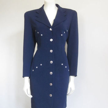 Escada / Nautical Dress / Escada Dress / Military Dress / Navy Dress / Designer Dress / Navy Star / Patriotic Dress / Preppy