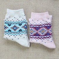 FunShop Woman's Hearts and Trees Pattern Cotton Ankel Socks Pack of Two (one Grey and one Pink) SK1030