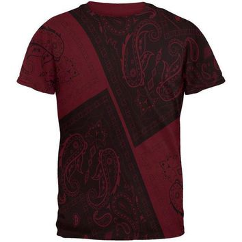 ICIKIS3 Bandana Paisley All Over Maroon Adult T-Shirt