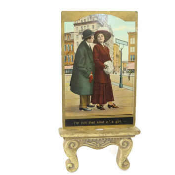 I'm not that kind of a girl - Antique Postcard - couple on a stroll in the city gold edged 1131