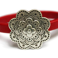 Flower Bracelet Leather Flower Bracelet Flower Jewelry Magnetic Flower Clasp Red Bangle Gift Ideas Grad Present PepperPotLeatherShop PPP
