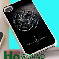 Cool Game Of Throne Targaryen Clan Family Silver Wyvern Logo For Iphone 4/4s, iPhone 5/5s, iPhone 5C, iphone 6, and iPhone 6 Plus Case