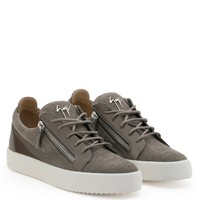 Giuseppe Zanotti Gz Frankie Grey Chenille Fabric Low-top Sneaker