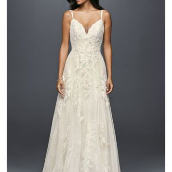 Scalloped A-Line Wedding Dress with Double Straps - Davids Bridal