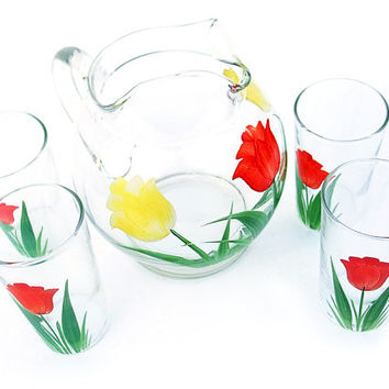 Vintage Tulip Glass Kitchenware Fire King Pitcher and Juice Glasses Set Anchor Hocking Breakfast Drinking Glasses and Pitcher