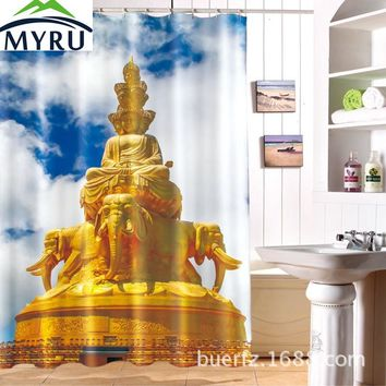 MYRU 3D gold Buddha printing waterproof polyester shower  curtain unique shower curtain for bathroom