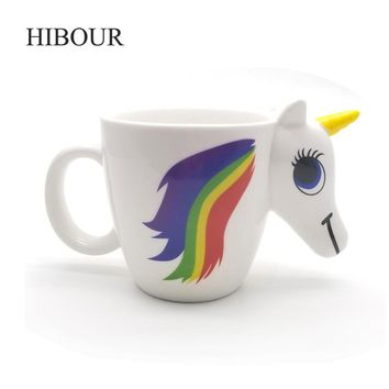 HIBOUR Unicorn Mugs with 3D Color Changing Temperature Creative Cartoon Cute Gift  Magical Horse Drinkware Ceramic Cups 350mL