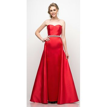 Strapless Mikado Gown Red Sheath Underskirt And Ballgown Overskirt