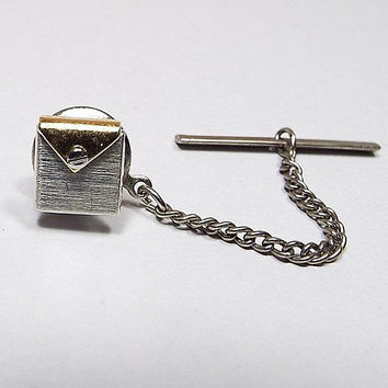 Letter Envelope Tie Tack, Two Tone, Retro 1980s 80s, Mens Formal Jewelry, Novelty Tie Tack